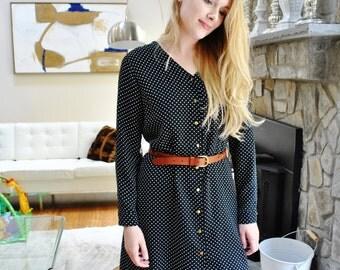 SALE Florence Dress/Polka dot dress/V-neck Shirt Dress/ Box pleat in the back/ Made in USA/Custom dress/ Mother-daughter fashion/