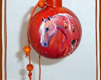 Designer Hand Painted Glass Ornament Horse. Hand Made