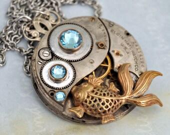 silver steampunk necklace, ZEN GARDEN, Antique year 1900s Elgin watch movement necklace with vintage Swarovski crystal and goldfish charm