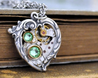 steampunk jewelry, Valentine Jewelry, In My HEART All the TIME, steampunk heart necklace, Victorian heart necklace with watch movement