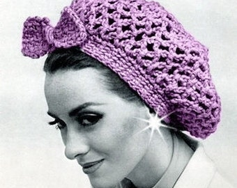 SALE ***** Vintage Crochet PATTERN Slouch SNOOD Hat with bow