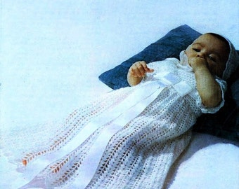 Crochet Pattern - Christening Gown and Bonnet/Cap - 18 ins chest - Baby/Bebe Pattern
