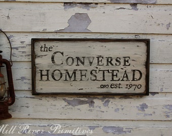 Early looking Antique Personalized Homestead Wooden Sign