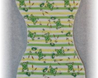 Baby burp cloth frog flannel contoured burp cloth