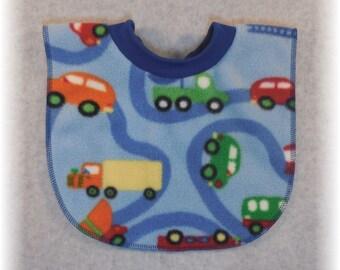 Pullover Baby Bib Fleece Car Firetruck Bulldozer Print for baby through toddler years