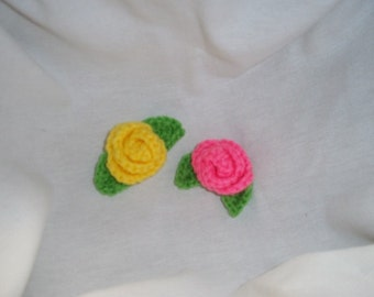 Small Crocheted Roses Applique ~ Set of 2 ~ Pink and Yellow ~ Mother's Day