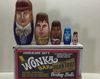 Handpainted Willy Wonka nesting doll set