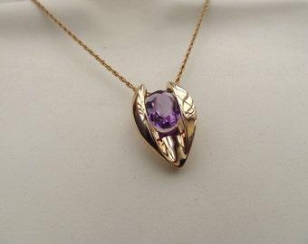 Gold Vermeil Amethyst Slider Pendant Necklace, 12k Gold Filled Chain Included!