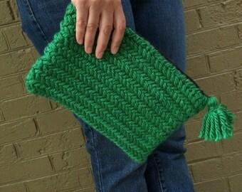 Clutch - Emerald Green Herringbone Knit Purse with Tassel