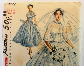 1950s Wedding dress pattern, uncut bridal gown pattern full skirt bridesmaid dress Simplicity 4697 size 14 bust 32 vintage sewing pattern