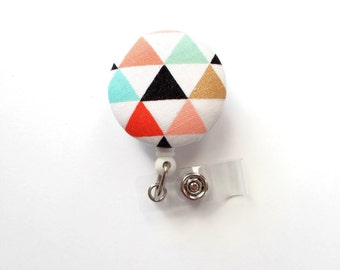 Geometric Triangle - Retractable ID Badge Holder - Cute ID Badge Reel - Designer Badge Holder - Nursing Badge Clip - Teacher Badge - RN Gift