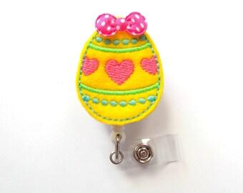 Easter Egg Yellow - Medical Assistant Badge Holder - School Badge Reel - Nurse Badge Holder - Nursing Badge Clip - Felt Badge - Easter Badge