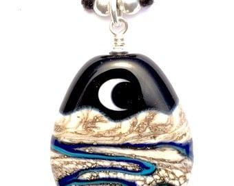 Midnight Wash : Handmade Lampwork Desert Moon Mountain Arroyo Landscape Focal Bead on .925 Sterling Silver Cotton Necklace