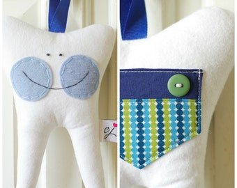 Tooth Fairy Pillow for a Boy (Dotty Stripe)-READY TO SHIP