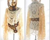 Boho chic poncho, bohemian crochet Stevie Nicks style, Gypsy tunic Boho clothing, Angel sleeve cowgirl shirt, coachella, True rebel clothing