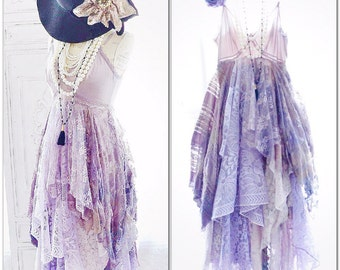 Stevie Nicks Boho Lace Maxi Dress, Boho lilac fall gypsy dress, Gypsy soul dress, Romantic dresses for autumn festivals, True rebel clothing