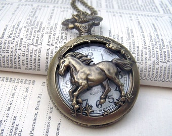 Horse Locket Watch Necklace Horse Necklace Horse Jewelry Vintage Inspired Locket Necklace Neo Victorian Pocket Watch Jewelry Gift Under 25