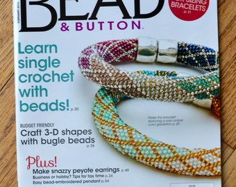 Single Bead Crochet- Ombre Bracelet - physical copy of the magazine Bead & Button for the project