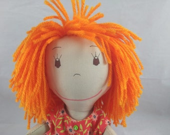 READY TO SHIP  Rag doll, light skin tone, mop of orange hair, Cloth Doll, Plush Toy, Soft Doll, Fabric Doll, Stuffed Doll