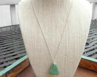Washington State Green Sea Glass Necklace Pacific Northwest