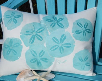 "Outdoor pillow SAND DOLLAR SCATTER 15""x20"" rectangle painted coastal ocean beach shelling marine beachcombing cabin Crabby Chris Original"
