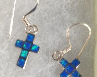 Australian Blue Opal and Serling Silver Cross Dangle Earrings