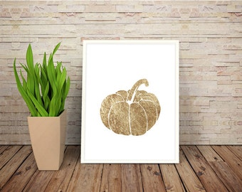 Faux Gold Leaf Pumpkin Halloween Print Illustration Printable Art Wall Art Typography Home Decor Print Instant Download Art Print Poster
