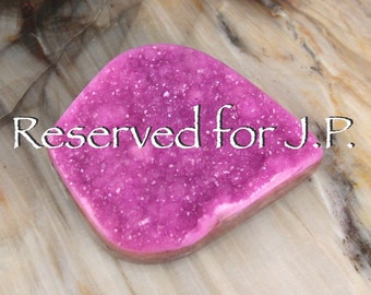 Reserved for J.P. Only   Fuchsia Cobalto Calcite Drusy Druzy Leaf Shape Cabochon Natural