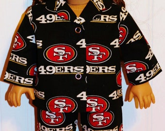 "FOOTBALL San Francisco 49ers Pajamas Fits 18"" Dolls  Proudly Made in America by mamastwinsees"