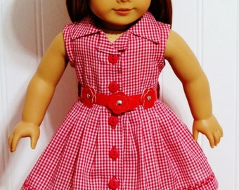 "DRESS and FAUX Leather BELT fits 18"" Dolls. Proudly made in America."