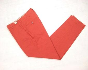 NOS Early 1960s Slim Slacks Vintage Retro Rusty Red Cotton Blend Deadstock Mod Cigarette Pants Size 30 x 31 Small S