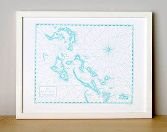 The Bahamas, Letterpress Printed Map (Light Blue)