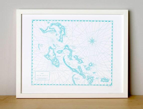 The Bahamas, Letterpress Printed Map (Light Blue)