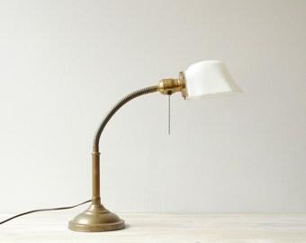 Vintage Desk Lamp, Gooseneck Adjustable Lamp with Milk Glass Shade