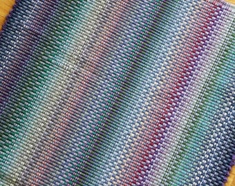 Kitchen Rag Rug / Blue and Pastel Rag Rug / Summer Colors 2 x 4
