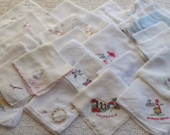 Vintage Handkerchief Lot 26 Pieces with Embroidered Designs Good Condition
