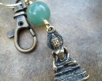 Buddha Keychain Thai Buddha Bag Charm  Buddha Bag Clip  Yoga Bag Charm  Yoga Gift  Buddhist Gift  Mens Accessories  Under 20  Zipper Clip OM