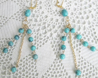 "Turquoise Chic-Czech Classy Diva Earrings - Lovely Beads and Gold-Plated Chain - 5"" Long - Statement Earrings - Fun and Sassy - Ooak - Gift"