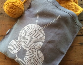 Hand Dyed Knitting Project Bag, Yarn Balls Design,  Organic Linen Drawstring Bag, Knitting Bag , Produce Bag , Screen Printed Bag