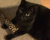 Catnip kicker toy, large cat toy, leopard print, organic catnip, cat gift under 10, cat kicker stick