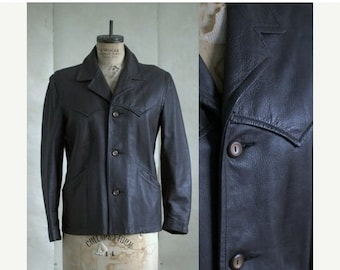 Vintage Leather Jacket Womens Small 1970s Jacket Deer Skin Jacket Button Up Jacket Short Length Leather Jacket Dark Brown Size Small Medium