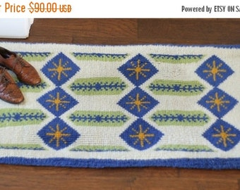 Vintage Wool Rug Woven Area Rug Abstract Print Rug Printed Mid Century Blue Green Yellow Rug with Stars 51x26