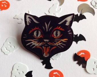 Halloween Black Cat Brooch Badge