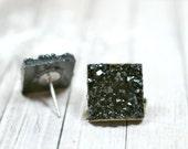 Black Druzy Earrings, Sparkly Galaxy Earrings Crystal Earrings, Black Square Druzy Studs Geometric Posts, Square Stud Earrings