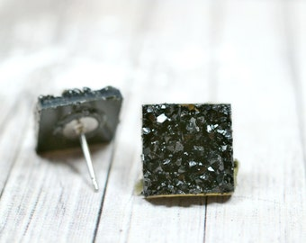 Black Druzy Earrings, Sparkly Galaxy Earrings Crystal Earrings, Black Square Druzy Studs Geometric Posts, Square Stud Earrings