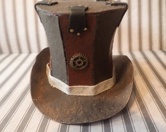 Mini leather look Top Hat hat accessory w hair clips brown top hat with gear