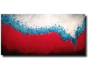 Original Large Abstract painting - 24 X 48 Inches-by Artist JMJartstudio- Desperately-Wall art-wall decor - red and blue painting-XXl