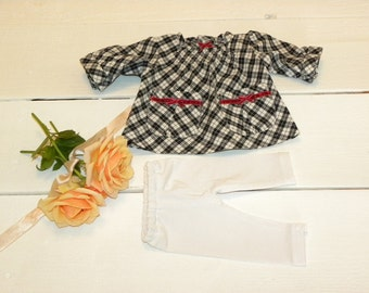 Black and White Gingham Dress and White Leggings - 14 - 15 inch doll clothes
