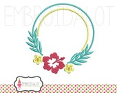 Flower monogram frame embroidery. Hibiscus embroidery design. Summer embroidery download. Girls embroidery. Summer monogram.