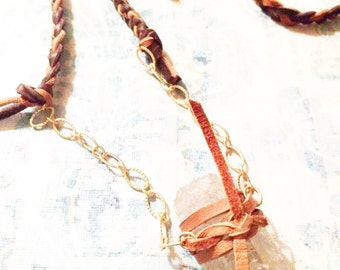 Braided leather and crystal necklace
